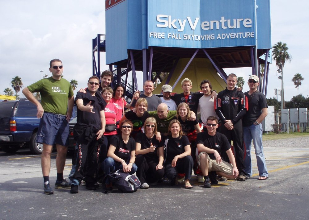 Group photo outside the wind tunnel
