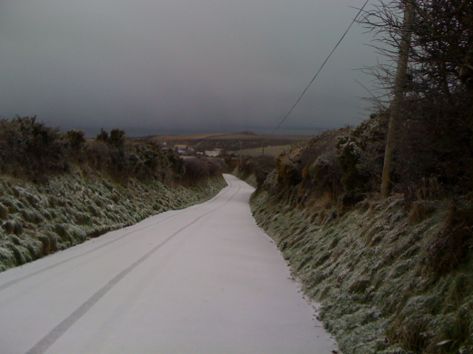 The Abereiddy road after the snow on January 5th