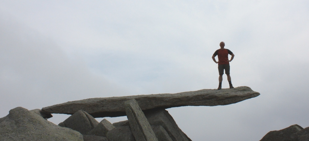 Standing on the famous Cantilever on Glyder Fach in Snowdonia