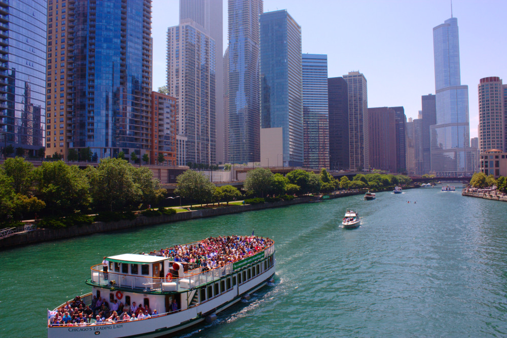 Chicago river from Lower North Lakeshore drive