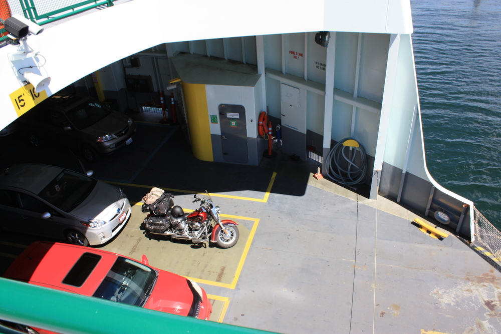My bike and all my stuff on the ferry in Washington State