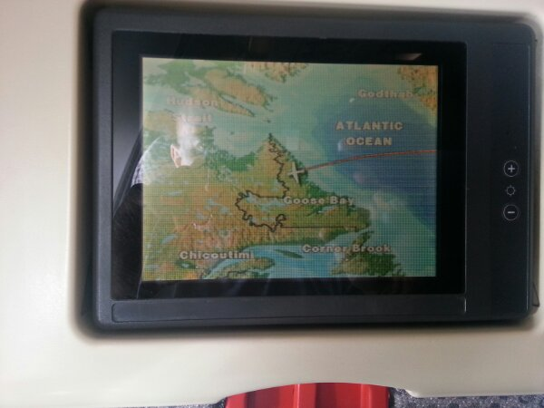 View of world map that shows where we are in the air