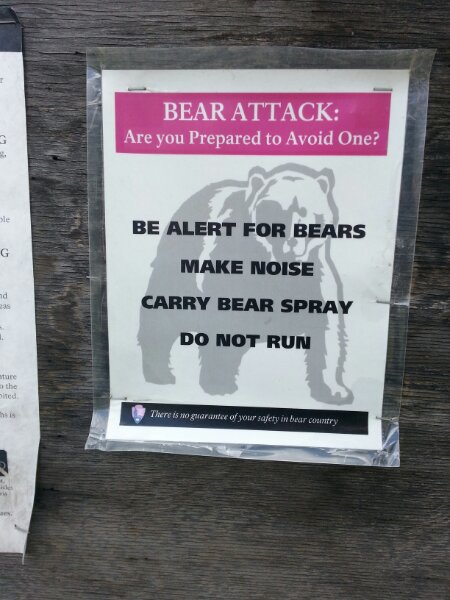Sign warning about bears