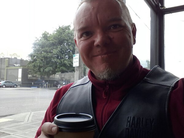 Having a well-deserved coffee in Seattle