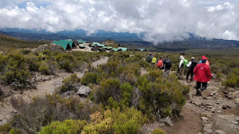 Returning to Horombo after our hike through snow to Zebra rocks