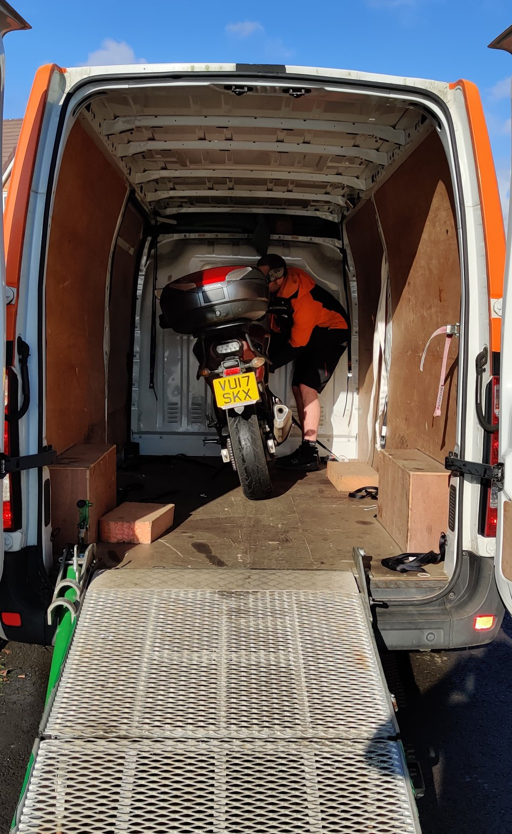 The old bike gets loaded up to be taken away. Yes, I did a part-exchange